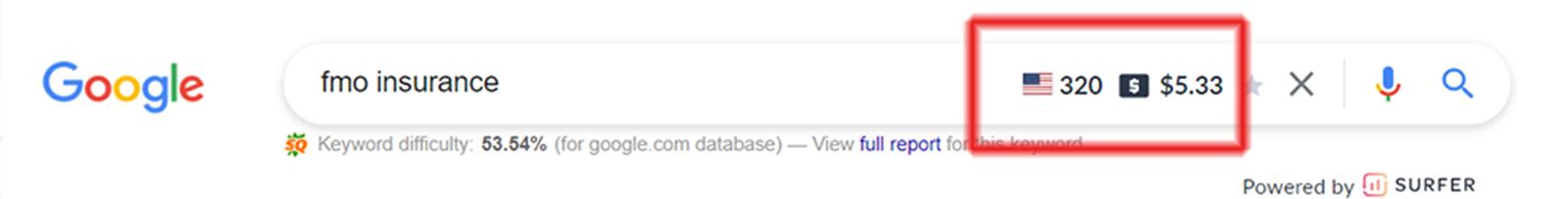 keyword research search bar